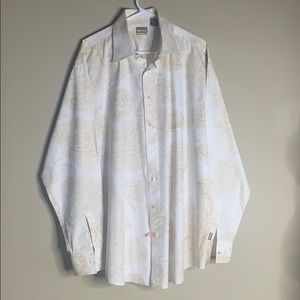 Vintage 90's Cream and Gold Enyce 2XL Button Shirt